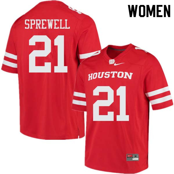 Women #21 Gleson Sprewell Houston Cougars College Football Jerseys Sale-Red